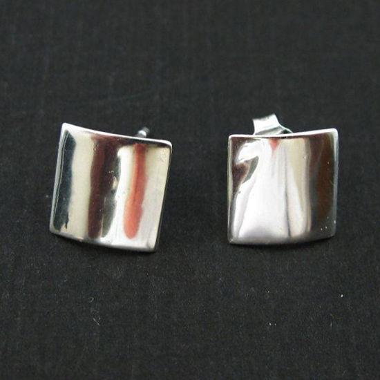 925 Sterling Silver Smooth Square Earwire - Fancy Earwire- 10mm by 10mm (2pcs - 1 pair)