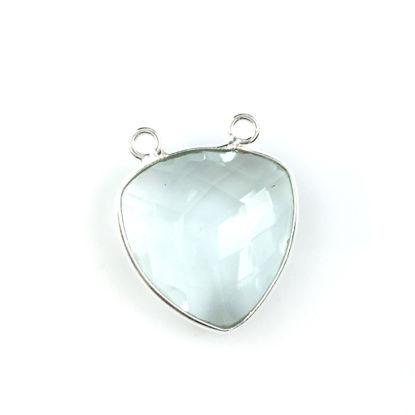 Bezel Gemstone Connector Pendant - Aqua Quartz - Sterling Silver - Large Trillion Shaped Faceted - 18 mm - 1 piece