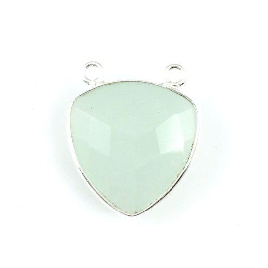 Bezel Gemstone Connector Pendant - Aqua Chalcedony - Sterling Silver - Large Trillion Shaped Faceted - 18 mm - 1 piece