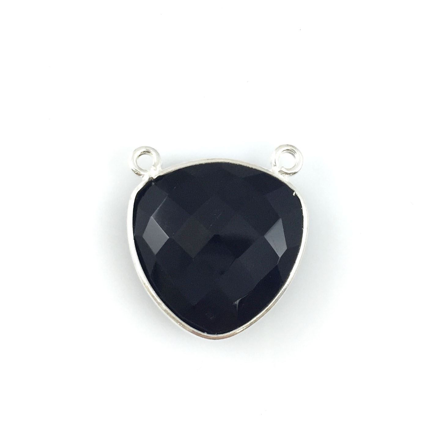 Bezel Gemstone Connector Pendant - Black Onyx - Sterling Silver - Large Trillion Shaped Faceted - 18 mm - 1 piece