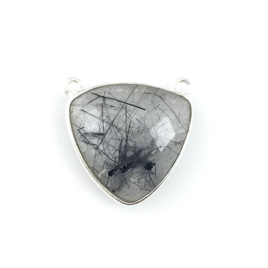 Bezel Gemstone Connector Pendant - Black Rutilated Quartz - Sterling Silver - Large Trillion Shaped Faceted - 18 mm - 1 piece