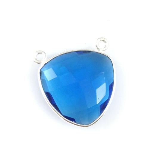 Bezel Gemstone Connector Pendant - Blue Quartz - Sterling Silver - Large Trillion Shaped Faceted - 18 mm - 1 piece