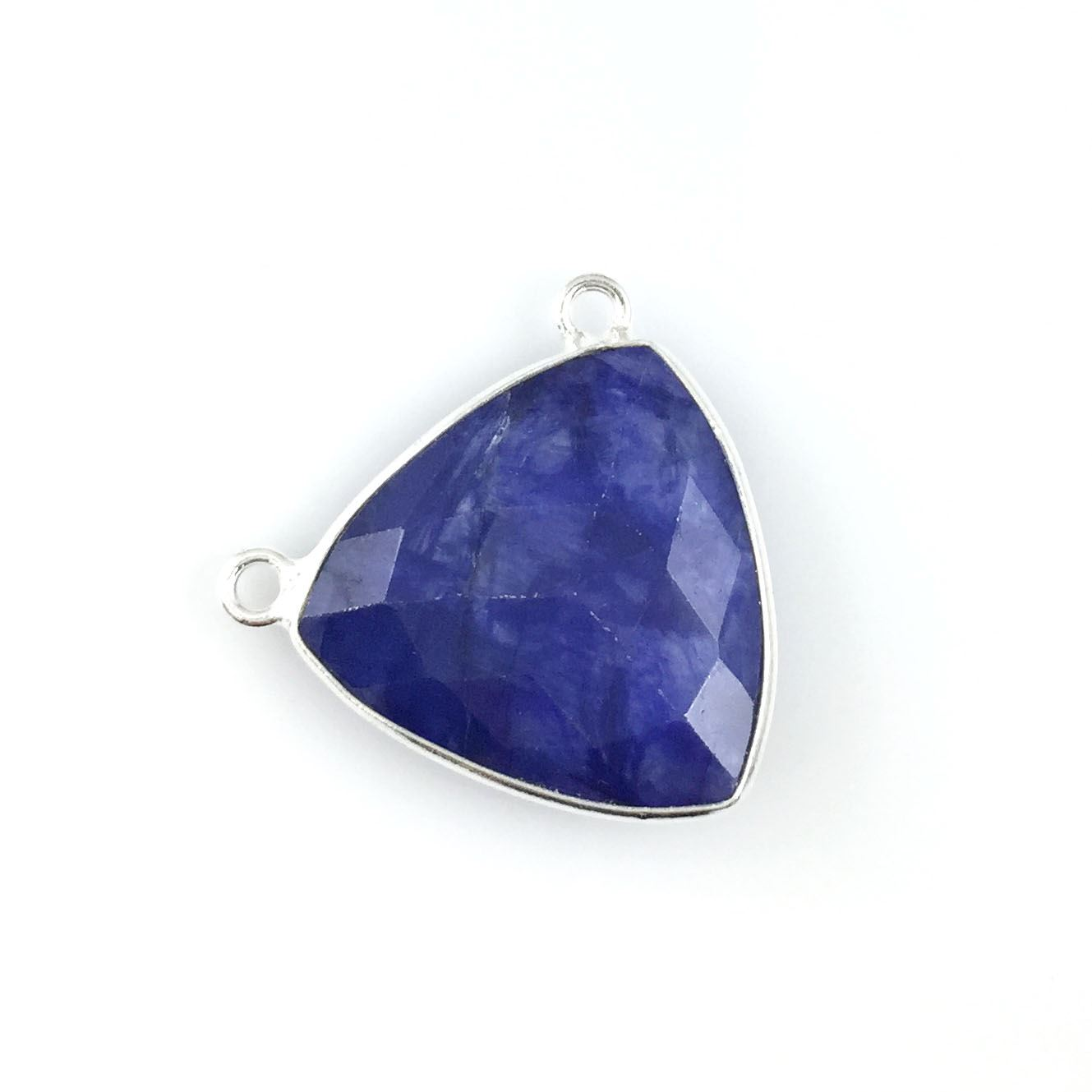 Bezel Gemstone Connector Pendant - Blue Sapphire Dyed - Sterling Silver - Large Trillion Shaped Faceted - 18 mm - 1 piece