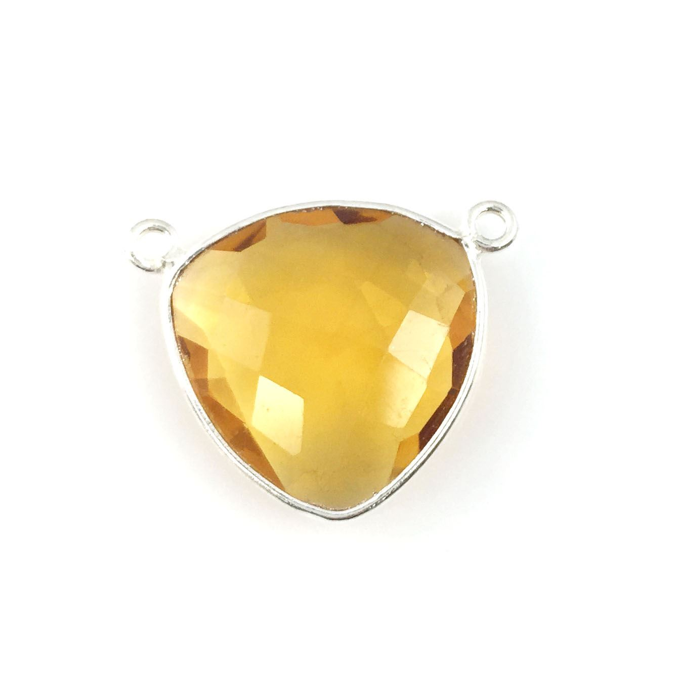 Bezel Gemstone Connector Pendant - Citrine Quartz - Sterling Silver - Large Trillion Shaped Faceted - 18 mm - 1 piece