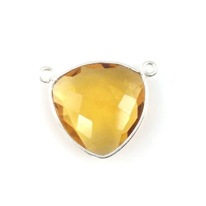 Bezel Gemstone Connector Pendant - Citrine Quartz - Sterling Silver - Large Trillion Shaped Faceted - 18 mm - 1 piece