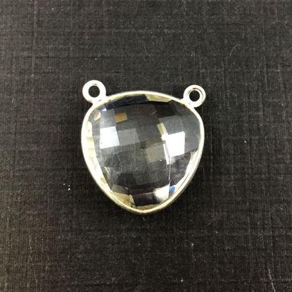 Bezel Gemstone Connector Pendant - Crystal Quartz - Sterling Silver - Large Trillion Shaped Faceted - 18 mm - 1 piece