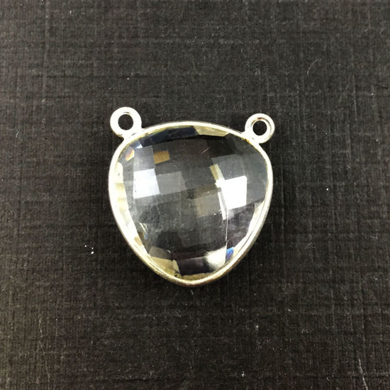 Bezel Gemstone Connector Pendant - Crystal Quartz - Sterling Silver - Large Trillion Shaped Faceted - 18 mm - 1 piece