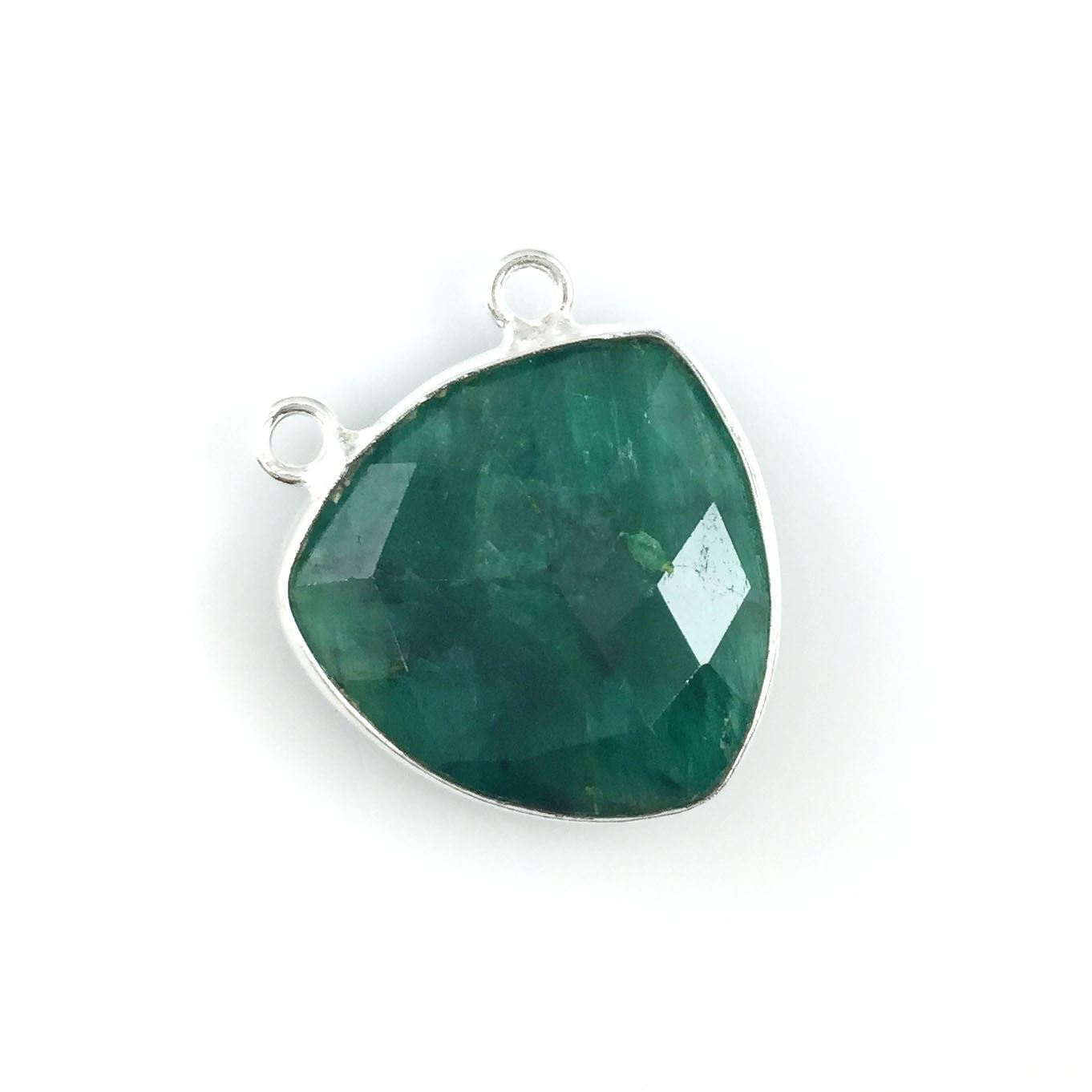 Bezel Gemstone Connector Pendant - Emerald Dyed - Sterling Silver - Large Trillion Shaped Faceted - 18 mm - 1 piece