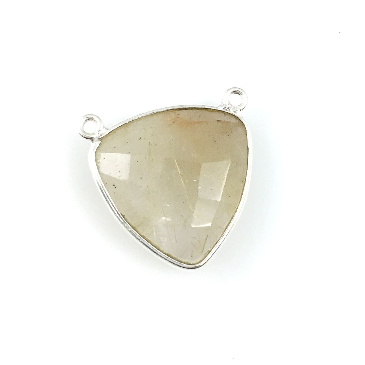 Bezel Gemstone Connector Pendant - Gold Rutilated Quartz - Sterling Silver - Large Trillion Shaped Faceted - 18 mm - 1 piece