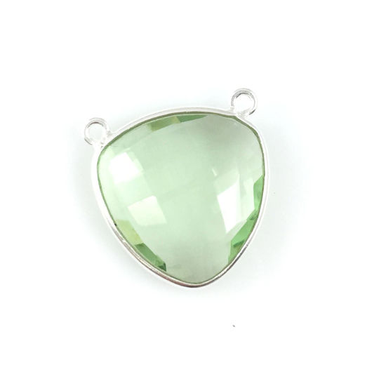 Bezel Gemstone Connector Pendant - Green Amethyst Quartz - Sterling Silver - Large Trillion Shaped Faceted - 18 mm - 1 piece