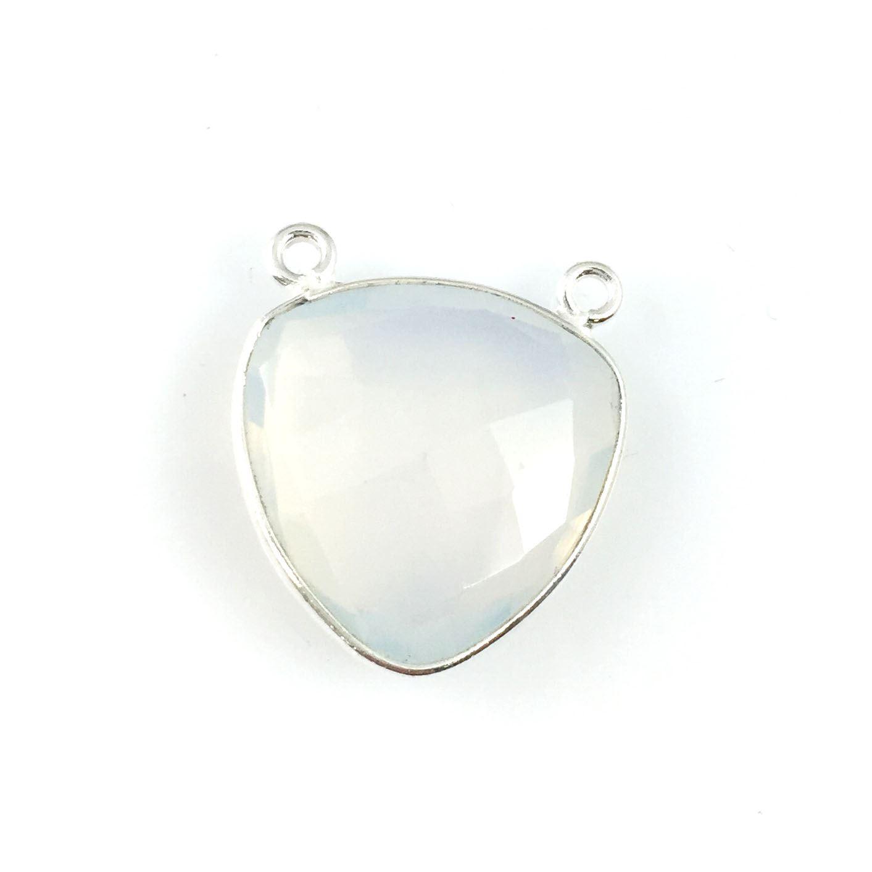 Bezel Gemstone Connector Pendant - Opalite Quartz - Sterling Silver - Large Trillion Shaped Faceted - 18 mm - 1 piece