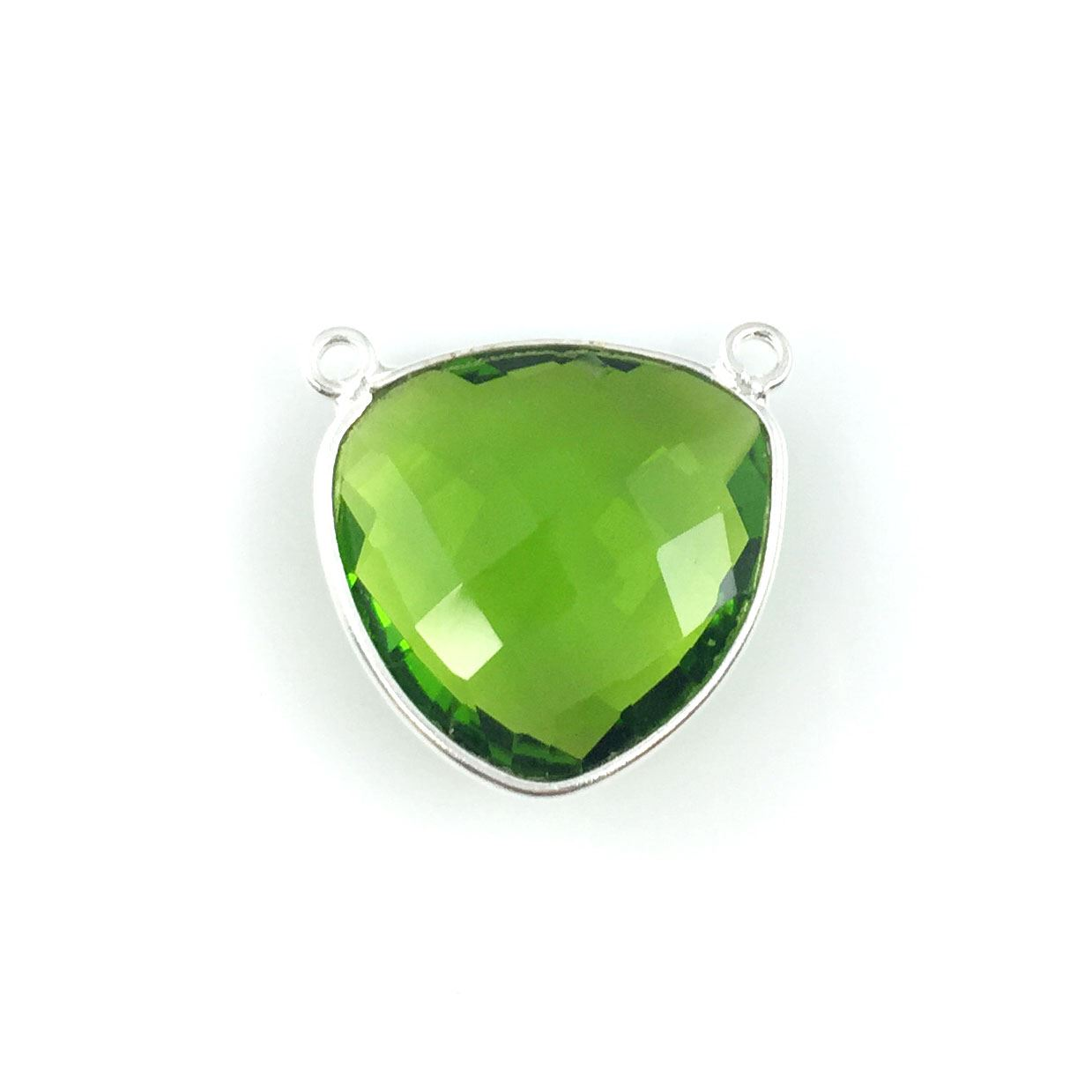 Bezel Gemstone Connector Pendant - Peridot Quartz - Sterling Silver - Large Trillion Shaped Faceted - 18 mm - 1 piece
