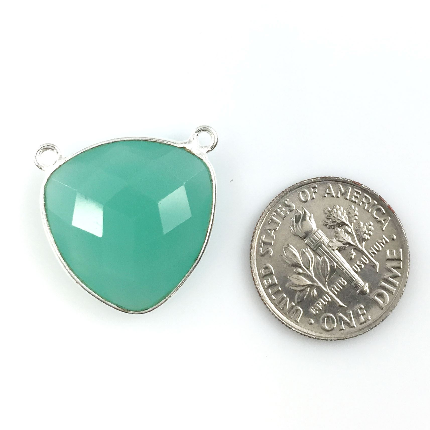 Bezel Gemstone Connector Pendant - Peru Chalcedony - Sterling Silver - Large Trillion Shaped Faceted - 18 mm - 1 piece