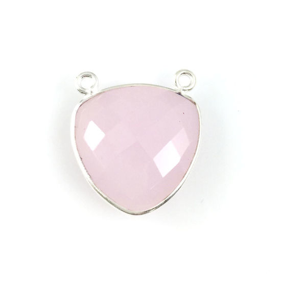 Bezel Gemstone Connector Pendant - Pink Chalcedony - Sterling Silver - Large Trillion Shaped Faceted - 18 mm - 1 piece