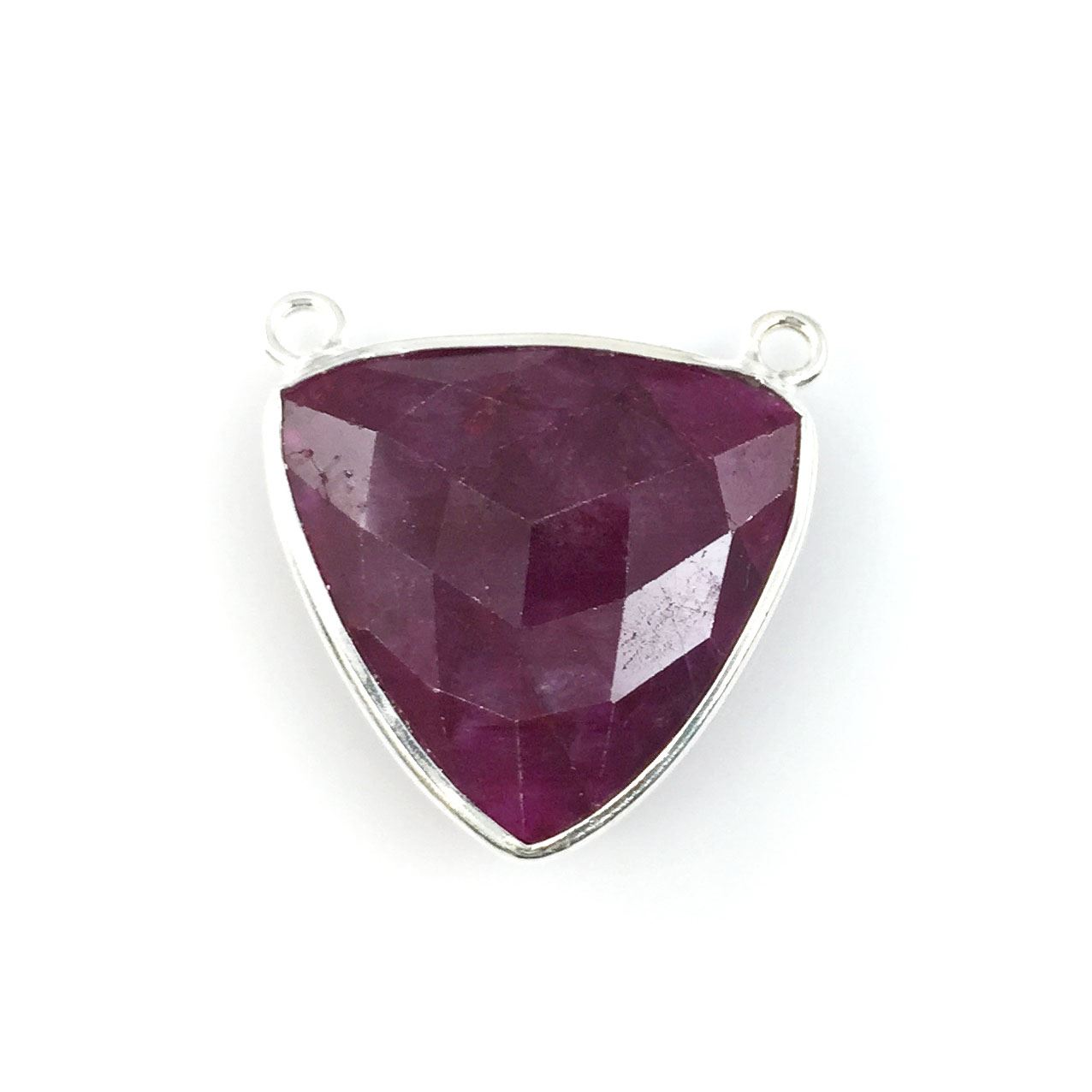 Bezel Gemstone Connector Pendant - Ruby Dyed - Sterling Silver - Large Trillion Shaped Faceted - 18 mm - 1 piece