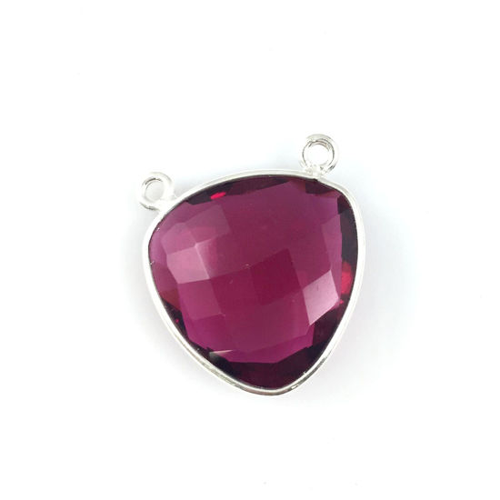 Bezel Gemstone Connector Pendant - Rubylite Quartz - Sterling Silver - Large Trillion Shaped Faceted - 18 mm - 1 piece