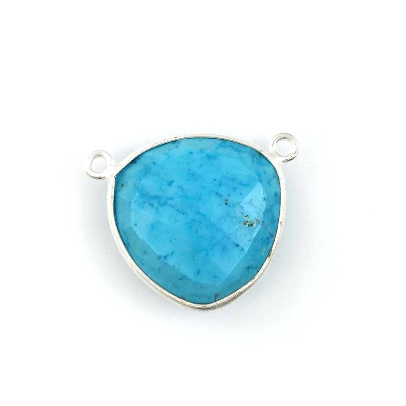 Bezel Gemstone Connector Pendant - Turquoise - Sterling Silver - Large Trillion Shaped Faceted - 18 mm - 1 piece