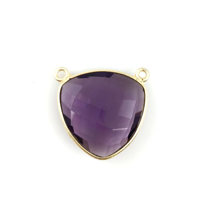 Bezel Gemstone Connector Pendant - Amethyst Quartz - Gold plated Sterling Silver - Large Trillion Shaped Faceted - 18 mm - 1 piece