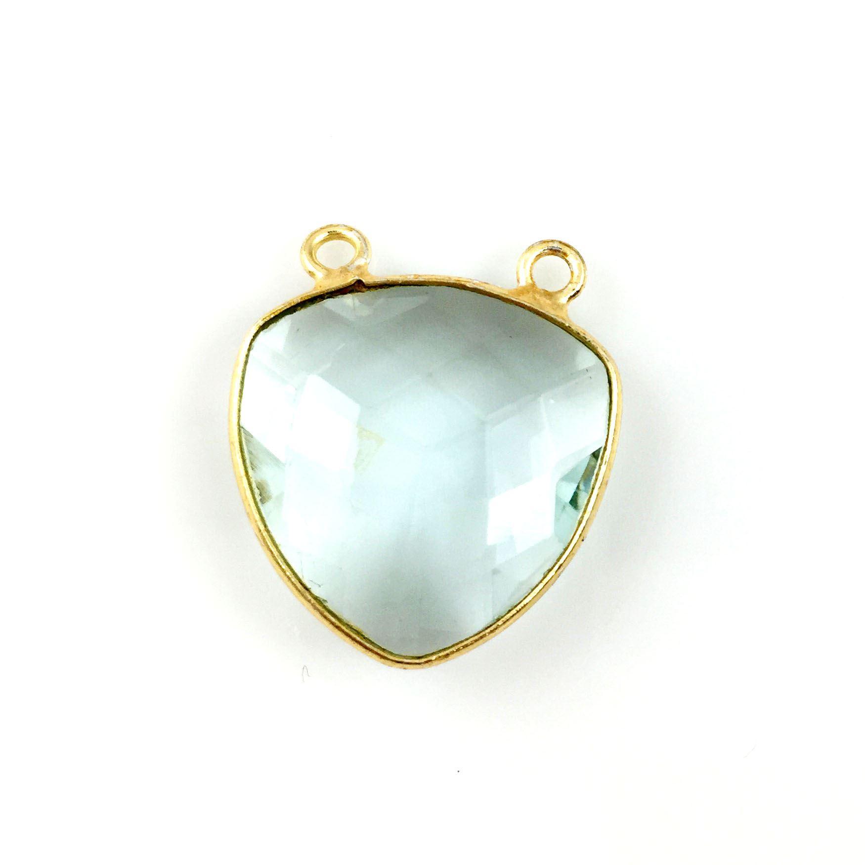 Bezel Gemstone Connector Pendant - Aqua Quartz - Gold plated Sterling Silver - Large Trillion Shaped Faceted - 18 mm - 1 piece