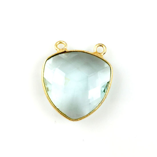 Bezel Gemstone Connector Pendant - Aqua Quartz - Gold plated Sterling Silver - Large Trillion Shaped Faceted - 18 mm - 1 piece