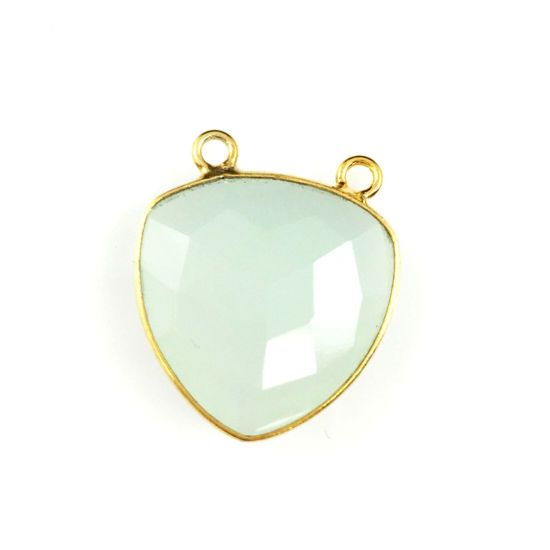 Bezel Gemstone Connector Pendant - Aqua Chalcedony - Gold plated Sterling Silver - Large Trillion Shaped Faceted - 18 mm - 1 piece