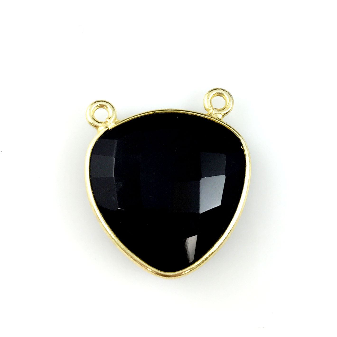 Bezel Gemstone Connector Pendant - Black Onyx - Gold plated Sterling Silver - Large Trillion Shaped Faceted - 18 mm - 1 piece