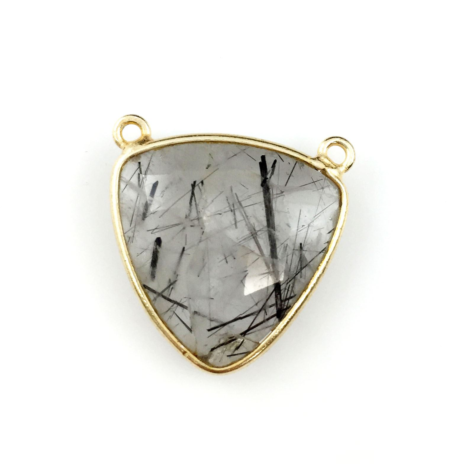 Bezel Gemstone Connector Pendant - Black Rutilated Quartz - Gold plated Sterling Silver - Large Trillion Shaped Faceted - 18 mm - 1 piece