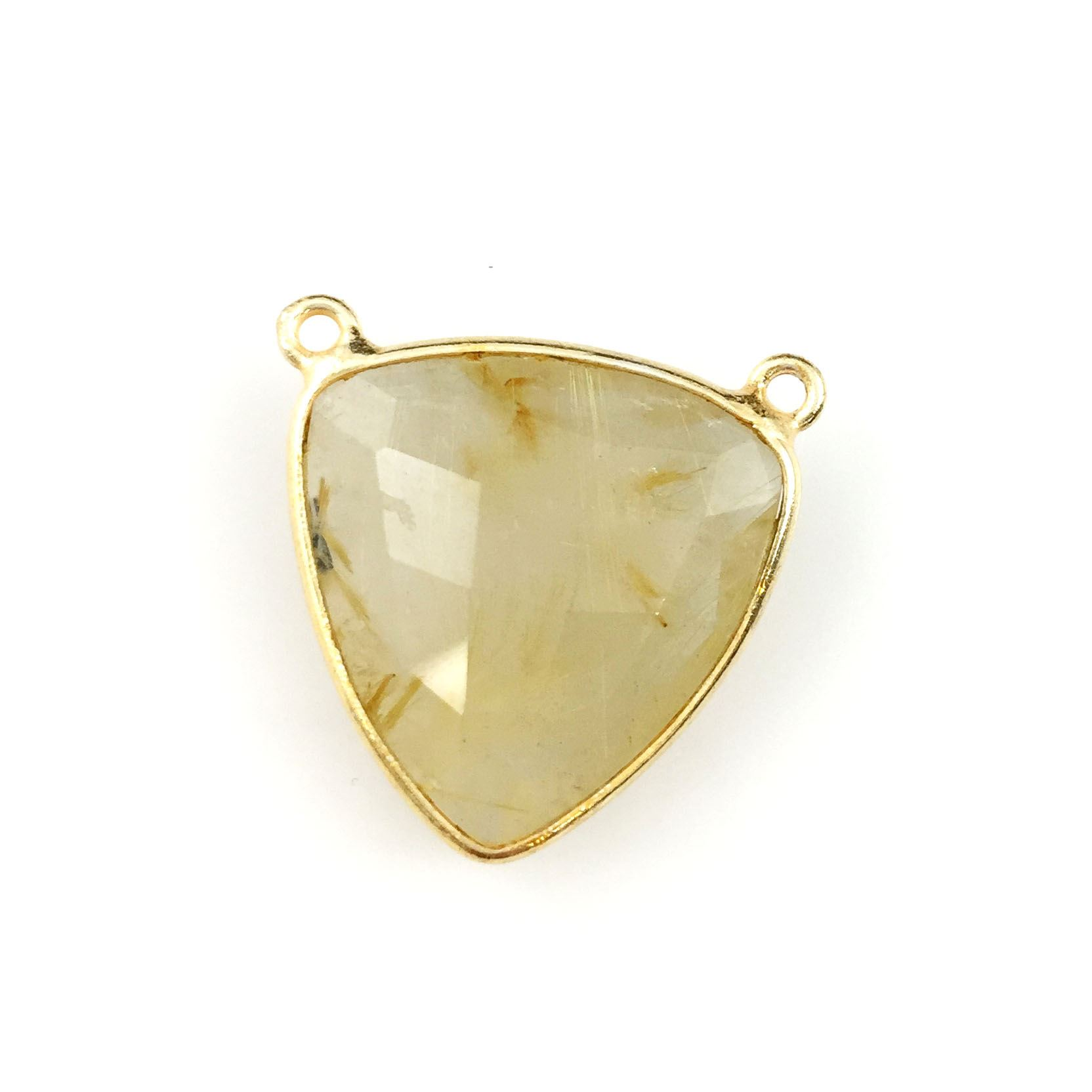 Bezel Gemstone Connector Pendant - Gold Rutilated Quartz - Gold plated Sterling Silver - Large Trillion Shaped Faceted - 18 mm - 1 piece