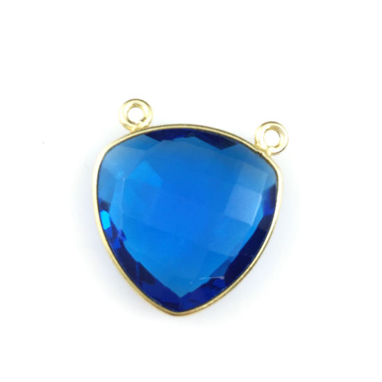 Bezel Gemstone Connector Pendant - Blue Quartz - Gold plated Sterling Silver - Large Trillion Shaped Faceted - 18 mm - 1 piece