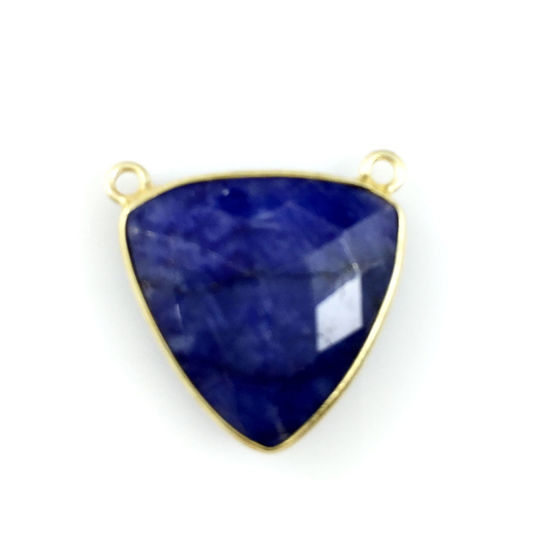 Bezel Gemstone Connector Pendant - Blue Sapphire Dyed - Gold plated Sterling Silver - Large Trillion Shaped Faceted - 18 mm - 1 piece