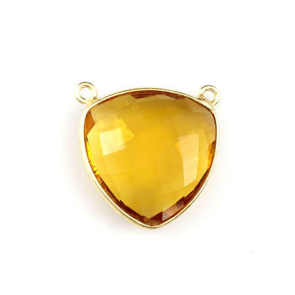 Bezel Gemstone Connector Pendant - Citrine Quartz- Gold plated Sterling Silver - Large Trillion Shaped Faceted - 18 mm - 1 piece