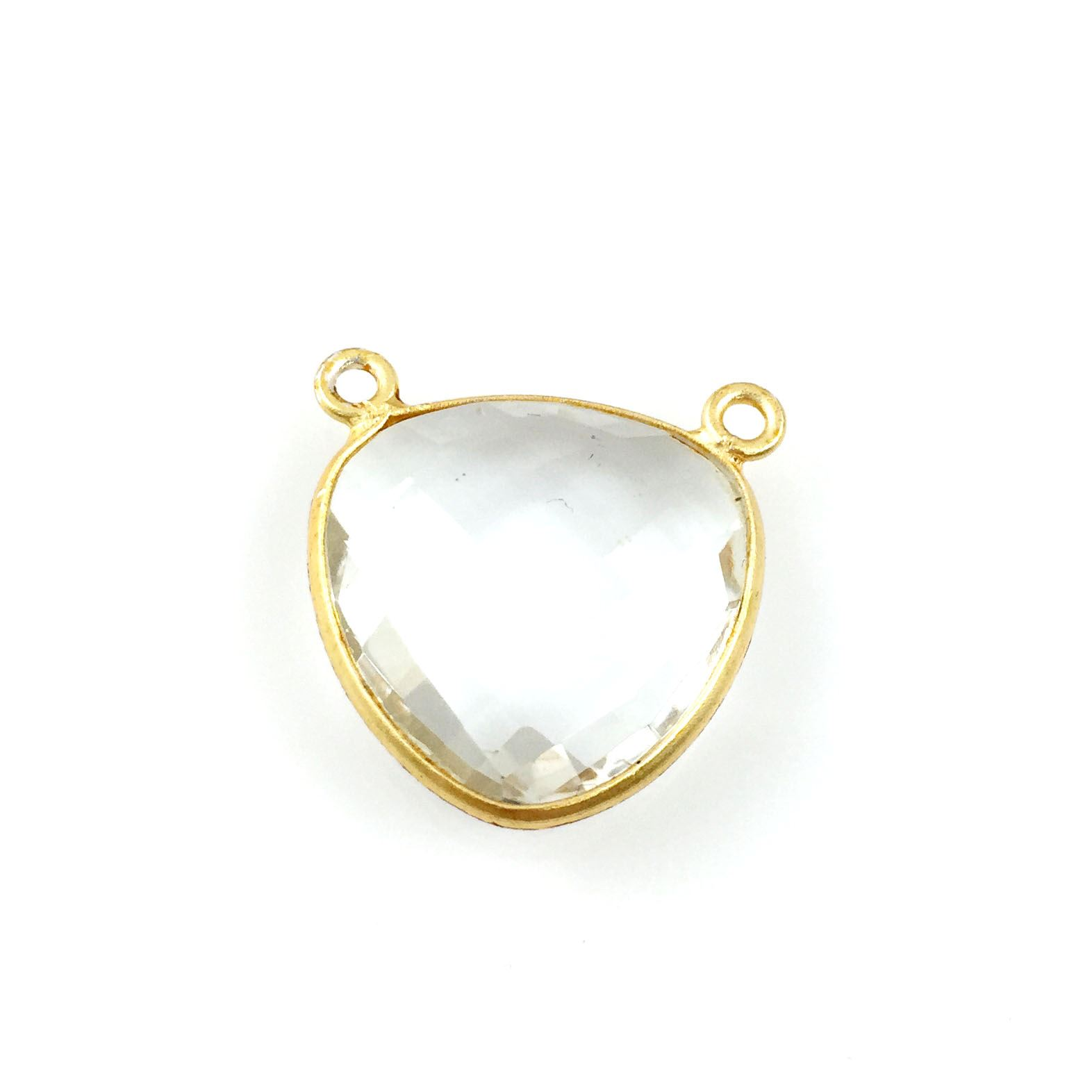 Bezel Gemstone Connector Pendant - Crystal Quartz- Gold plated Sterling Silver - Large Trillion Shaped Faceted - 18 mm - 1 piece