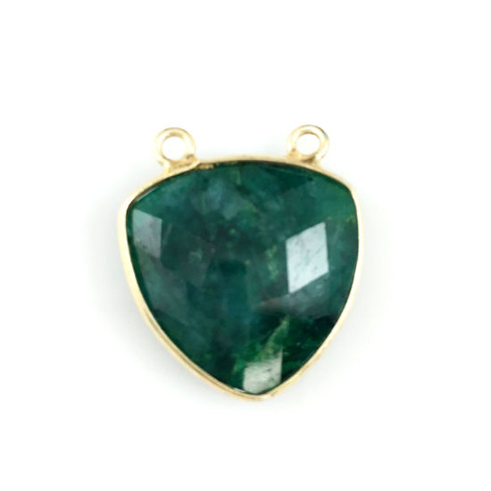 Bezel Gemstone Connector Pendant - Emerald Dyed - Gold plated Sterling Silver - Large Trillion Shaped Faceted - 18 mm - 1 piece