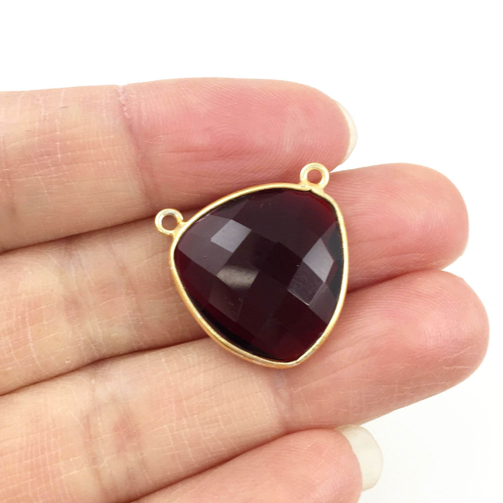 Bezel Gemstone Connector Pendant - Garnet Quartz - Gold plated Sterling Silver - Large Trillion Shaped Faceted - 18 mm - 1 piece