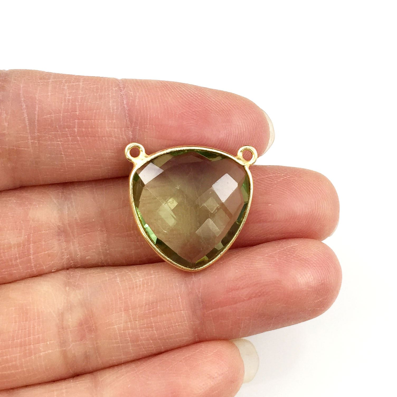 Bezel Gemstone Connector Pendant - Green Amethyst Quartz - Gold plated Sterling Silver - Large Trillion Shaped Faceted - 18 mm - 1 piece
