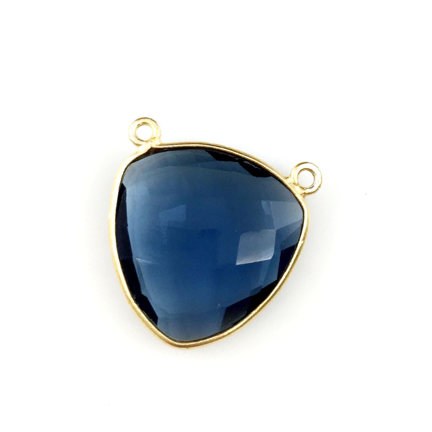 Bezel Gemstone Connector Pendant - Iolite Quartz - Gold plated Sterling Silver - Large Trillion Shaped Faceted - 18 mm - 1 piece