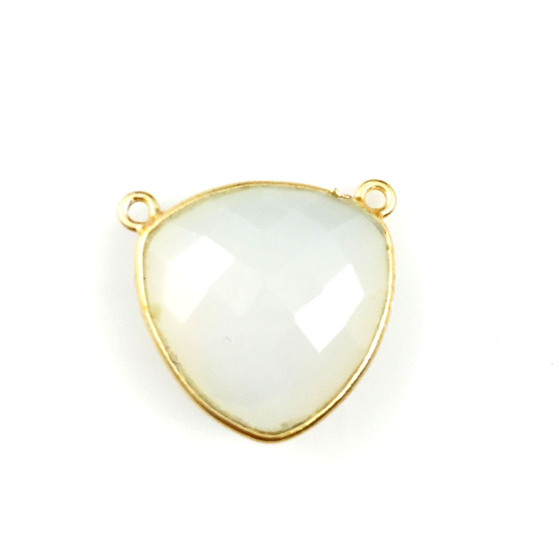 Bezel Gemstone Connector Pendant - Opalite Quartz - Gold plated Sterling Silver - Large Trillion Shaped Faceted - 18 mm - 1 piece