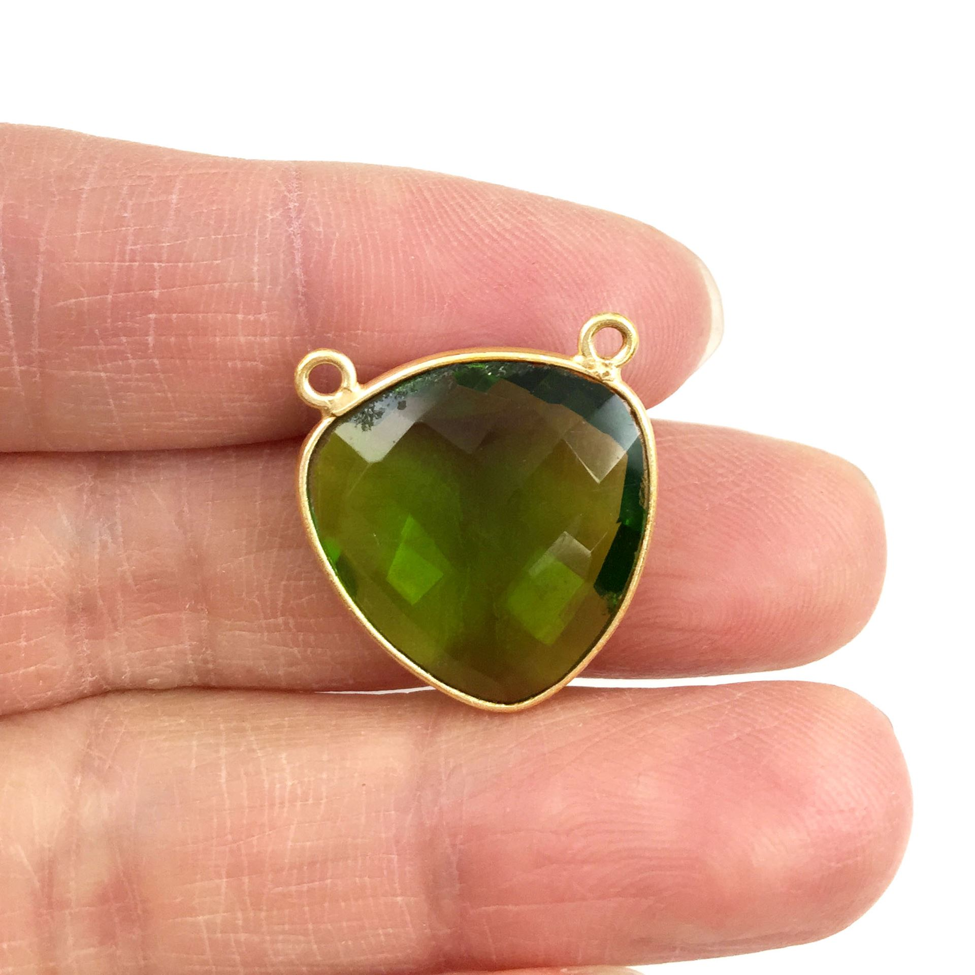 Bezel Gemstone Connector Pendant - Peridot Quartz - Gold plated Sterling Silver - Large Trillion Shaped Faceted - 18 mm - 1 piece