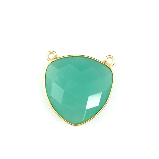 Bezel Gemstone Connector Pendant - Peru Chalcedony - Gold plated Sterling Silver - Large Trillion Shaped Faceted - 18 mm - 1 piece