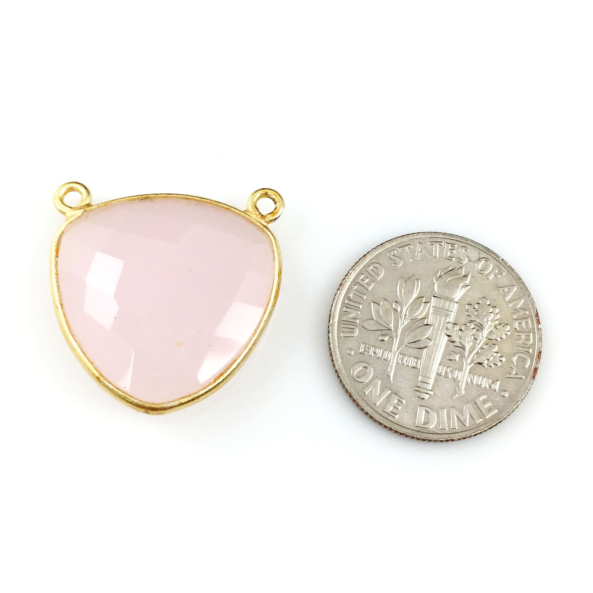 Bezel Gemstone Connector Pendant - Pink Chalcedony - Gold plated Sterling Silver - Large Trillion Shaped Faceted - 18 mm - 1 piece