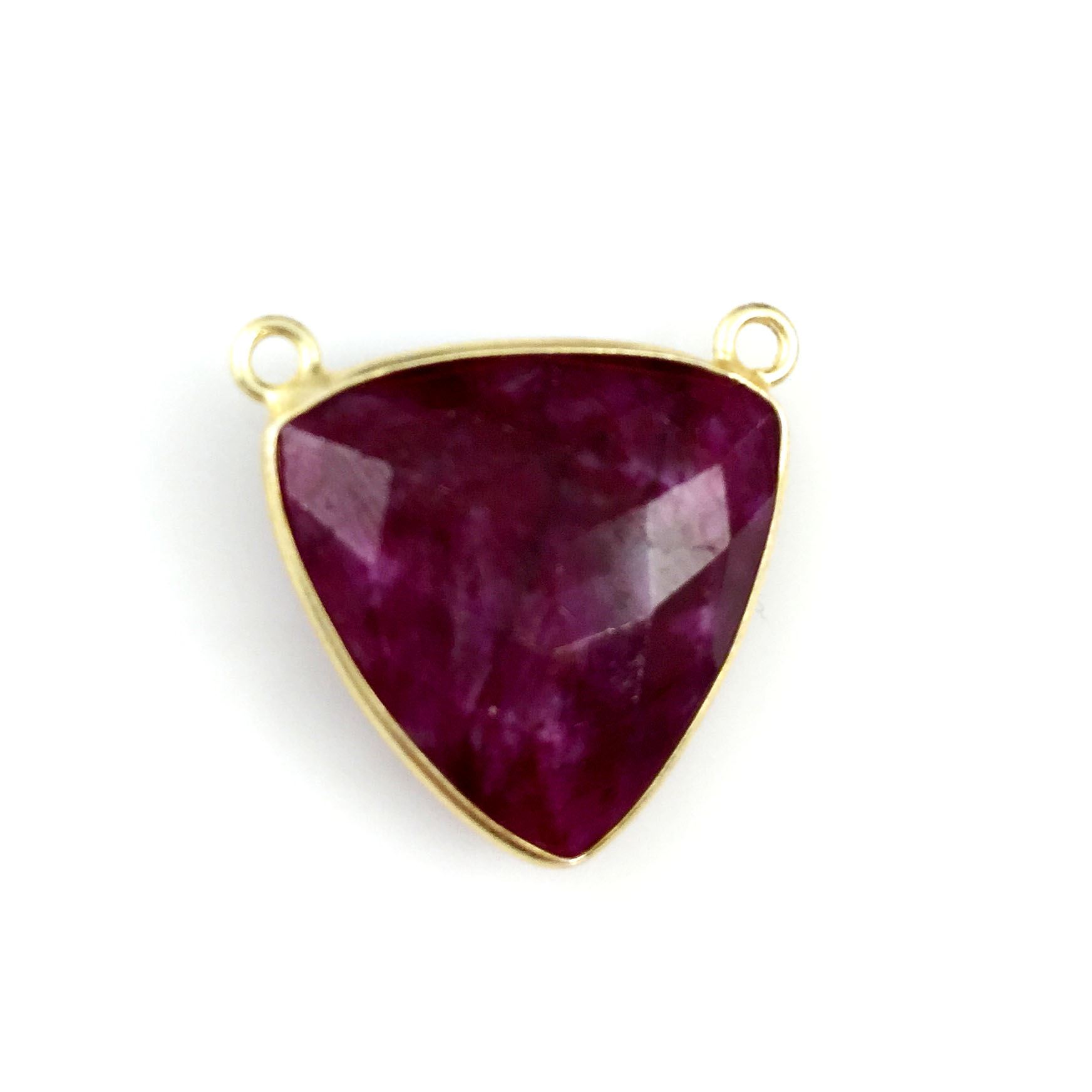 Bezel Gemstone Connector Pendant - Ruby Dyed - Gold plated Sterling Silver - Large Trillion Shaped Faceted - 18 mm - 1 piece