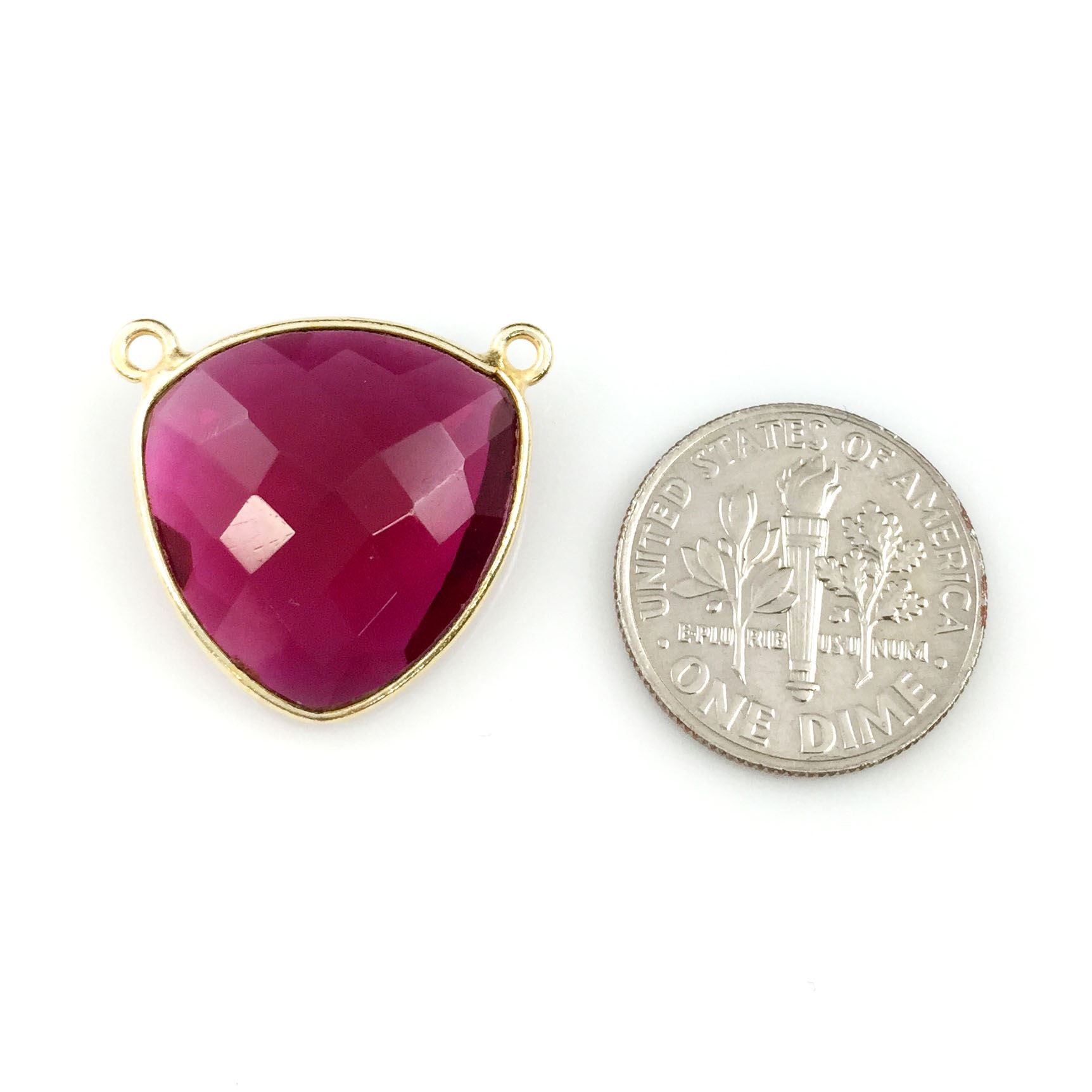 Bezel Gemstone Connector Pendant - Rubylite Quartz - Gold plated Sterling Silver - Large Trillion Shaped Faceted - 18 mm - 1 piece