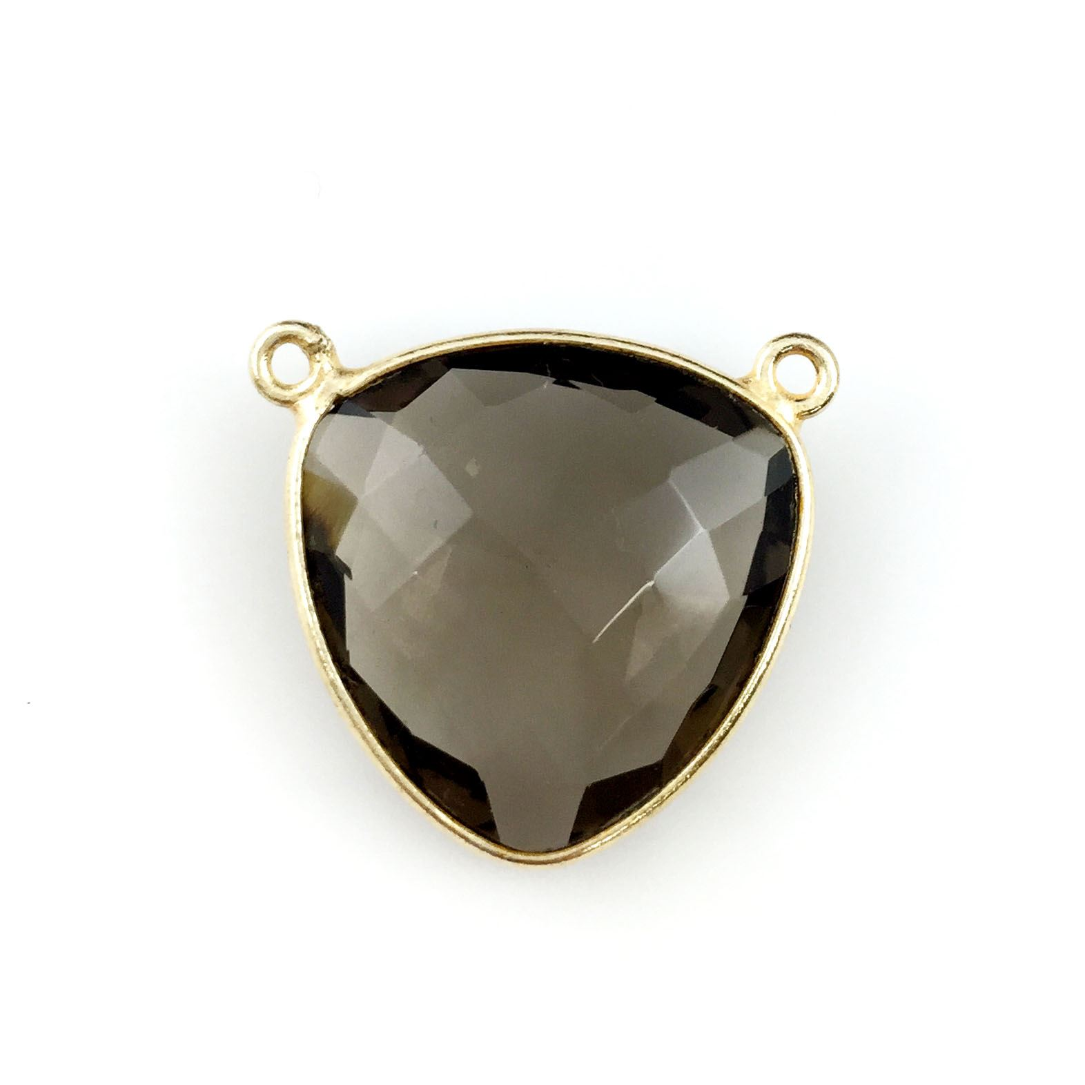 Bezel Gemstone Connector Pendant - Smokey Quartz - Gold plated Sterling Silver - Large Trillion Shaped Faceted - 18 mm - 1 piece