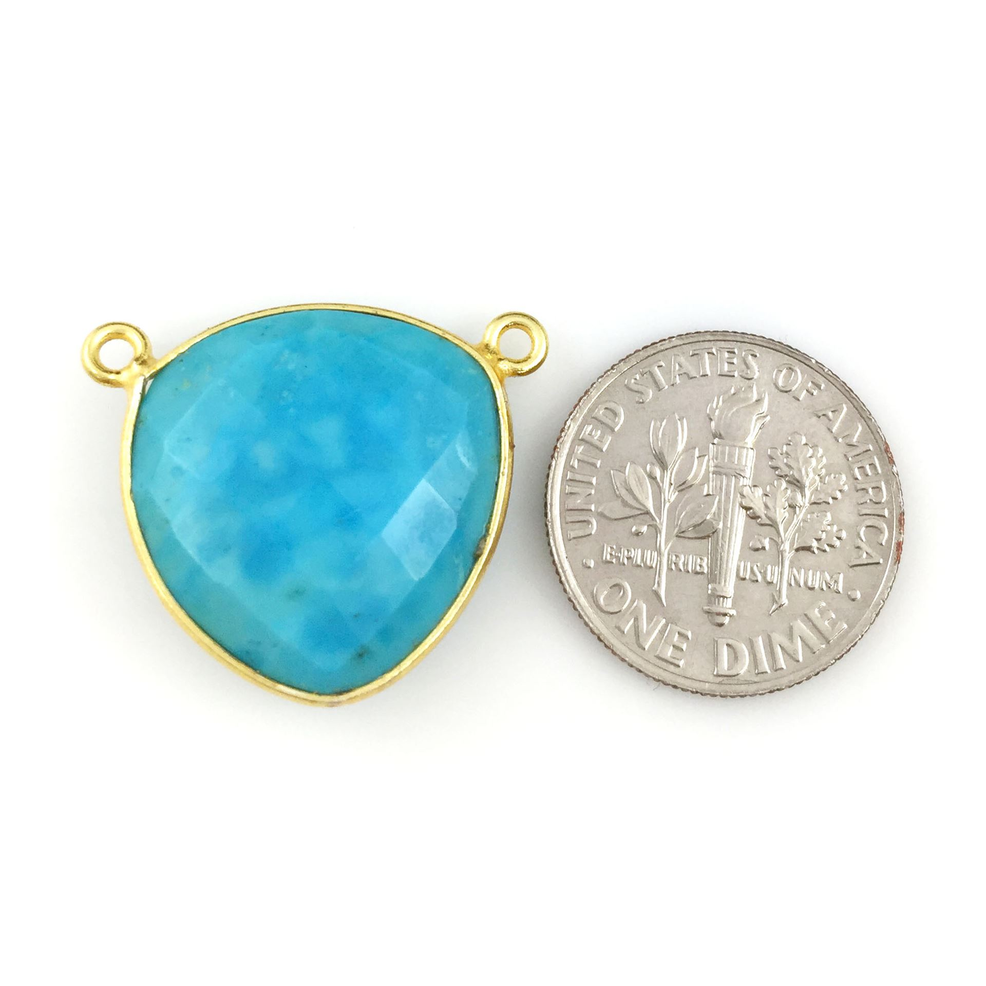 Bezel Gemstone Connector Pendant - Turquoise- Gold plated Sterling Silver - Large Trillion Shaped Faceted - 18 mm - 1 piece