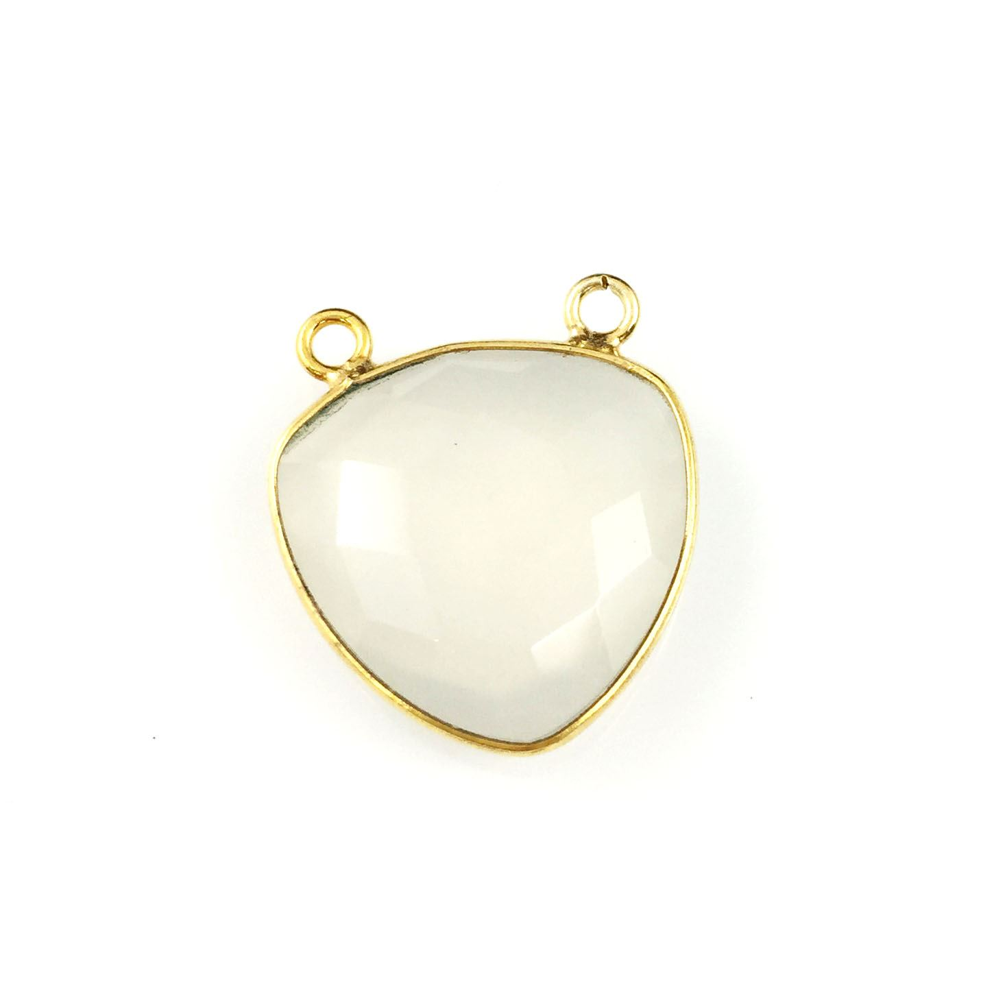 Bezel Gemstone Connector Pendant - White Chalcedony - Gold plated Sterling Silver - Large Trillion Shaped Faceted - 18 mm - 1 piece