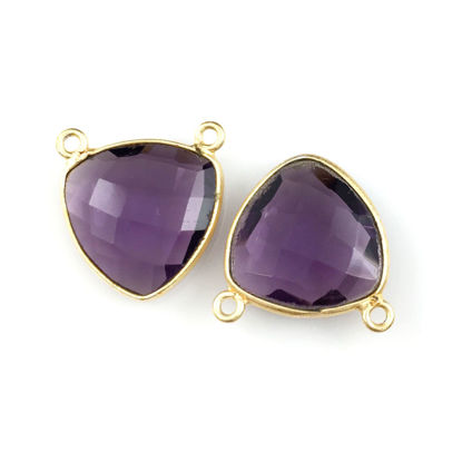 Bezel Gemstone Connector Pendant - Amethyst Quartz - Gold plated Sterling Silver - Small Trillion Shaped Faceted - 15mm - 1 piece