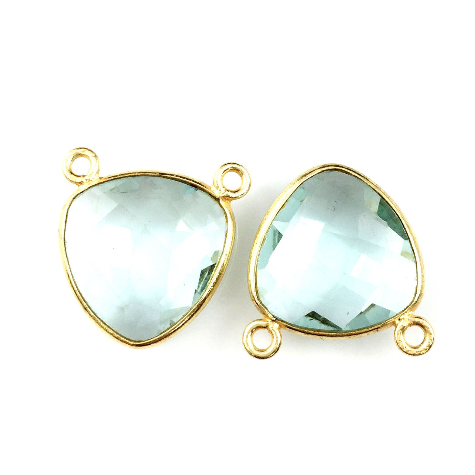 Bezel Gemstone Connector Pendant - Aqua Quartz - Gold plated Sterling Silver - Small Trillion Shaped Faceted - 15mm - 1 piece