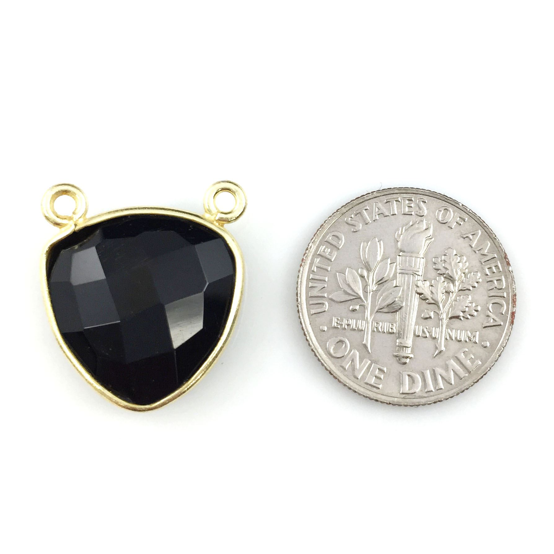 Bezel Gemstone Connector Pendant - Black Onyx - Gold plated Sterling Silver - Small Trillion Shaped Faceted - 15mm - 1 piece