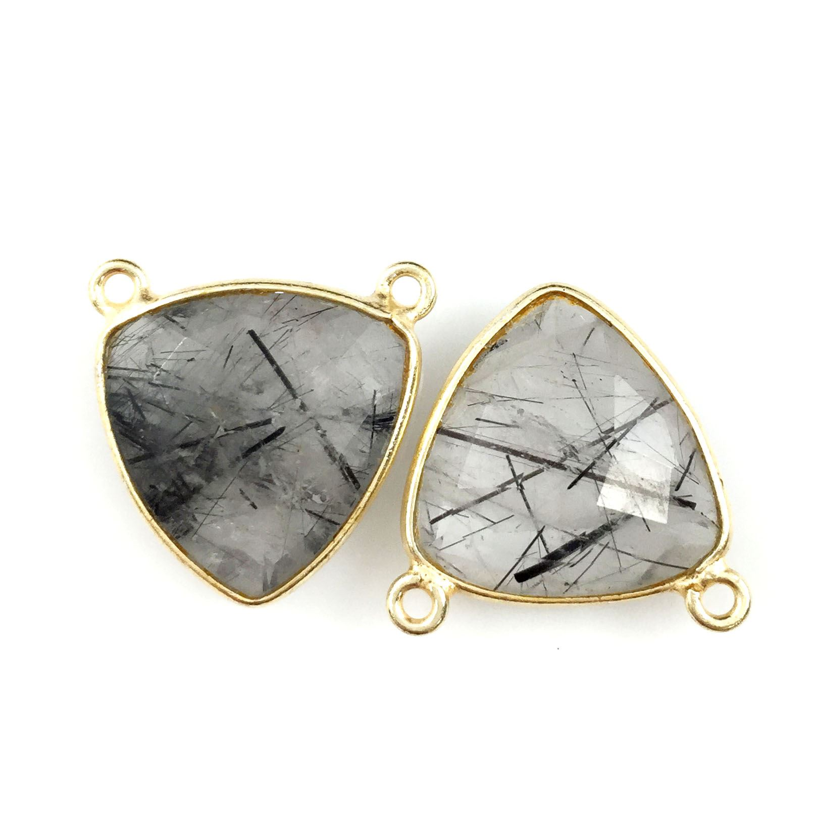 Bezel Gemstone Connector Pendant - Black Rutilated Quartz - Gold plated Sterling Silver - Small Trillion Shaped Faceted - 15mm - 1 piece