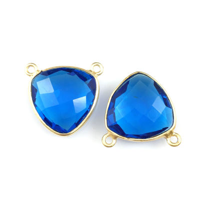 Bezel Gemstone Connector Pendant - Blue Quartz - Gold plated Sterling Silver - Small Trillion Shaped Faceted - 15mm - 1 piece